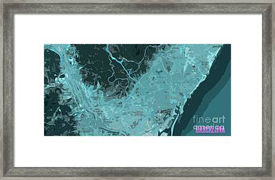 Barcelona Traffic Abstract Blue Map Framed Print by Pablo Franchi