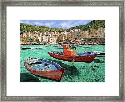 Barche Rosse E Blu Framed Print by Guido Borelli