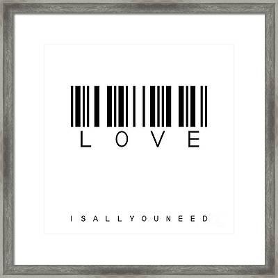 Barcode Love Framed Print by Steffi Louis
