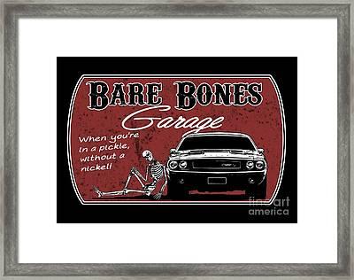 Bare Bones Garage Challenger Framed Print by Paul Kuras