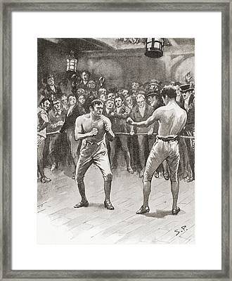 Bare-knuckle Boxing In The 19th Framed Print by Vintage Design Pics