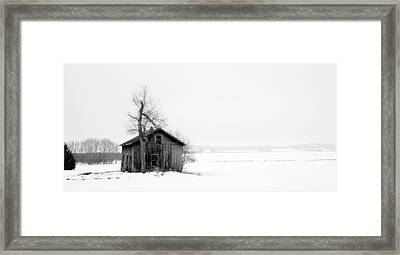 Bare Tree And Barn Framed Print by Levin Rodriguez