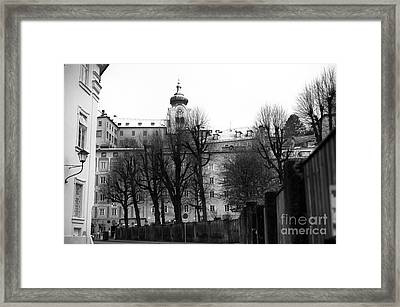 Bare Trees In Salzburg Mono Framed Print by John Rizzuto