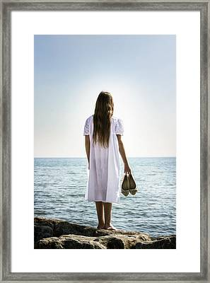 Barefoot At The Sea Framed Print