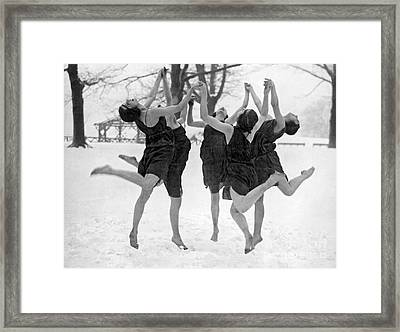 Barefoot Dance In The Snow Framed Print by American School