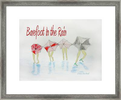 Barefoot In The Rain Framed Print by Donna Blackhall