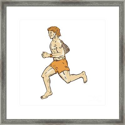 Barefoot Runner Running Side Etching Framed Print by Aloysius Patrimonio