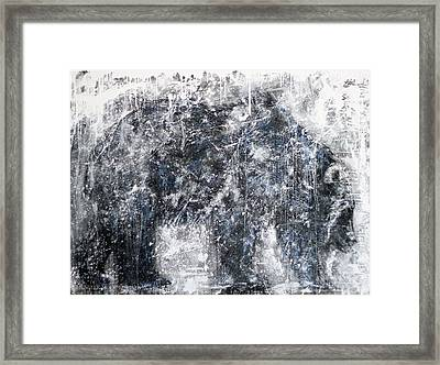 Abstract Black And White Bear Painting Barely There Bear Framed Print