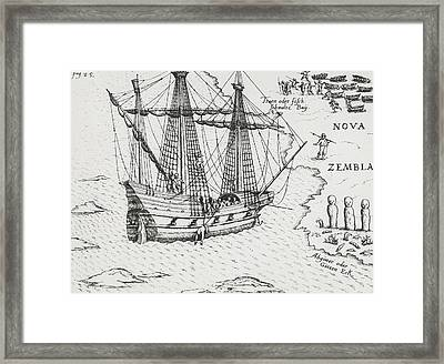 Barents' Ship At Nova Zembla Framed Print by Dutch School