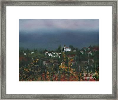 Bargathrough The Fog Framed Print by Leah Wiedemer