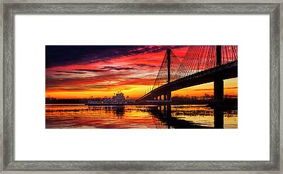 Barge And Toe Going Under The Clark Bridge, Alton, Il Framed Print