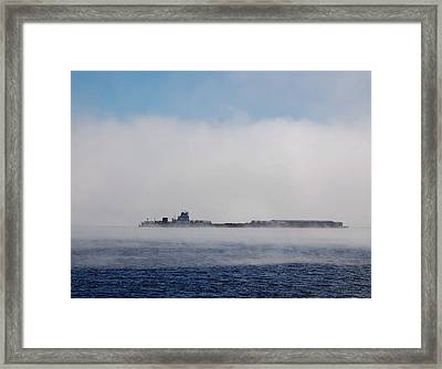 Barge In Morning Fog Framed Print by Larry Nielson