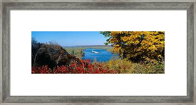 Barge On Mississippi River In Autumn Framed Print