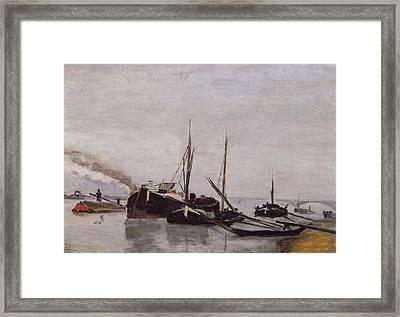Barges On The Seine Framed Print