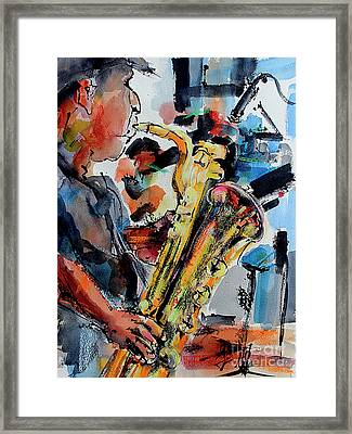 Framed Print featuring the painting Baritone Saxophone Mixed Media Music Art by Ginette Callaway