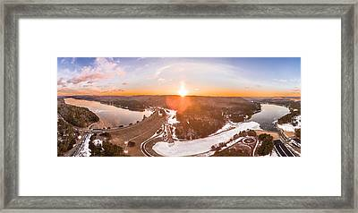 Framed Print featuring the photograph Barkhamsted Reservoir And Saville Dam In Connecticut, Sunrise Panorama by Petr Hejl