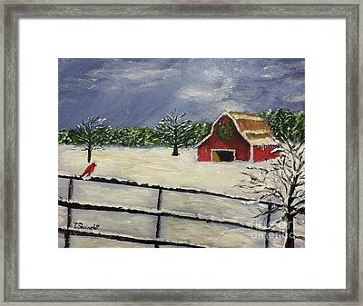 Barksdale Barn In Snow Framed Print
