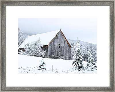 Barn After Snow Framed Print by Tim Kirchoff