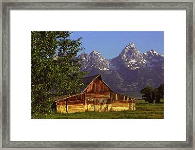 Barn Against Tetons Framed Print