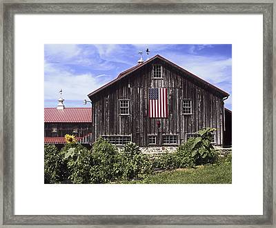 Barn And American Flag Framed Print