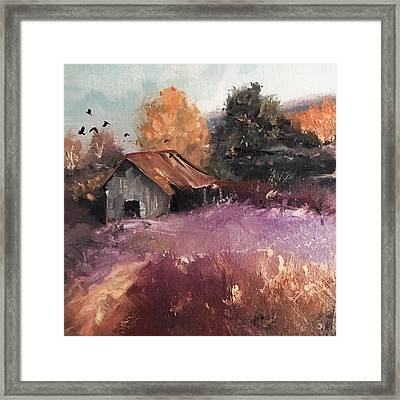 Barn And Birds  Framed Print by Michele Carter