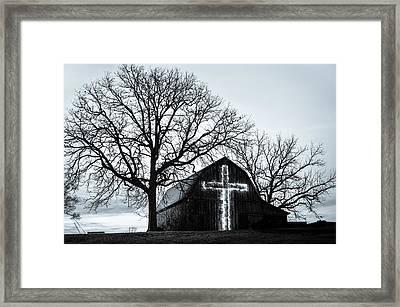 Christmas Light Cross On Barn Framed Print