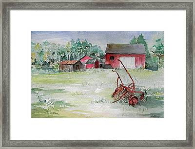 Barn And Cultivator Framed Print