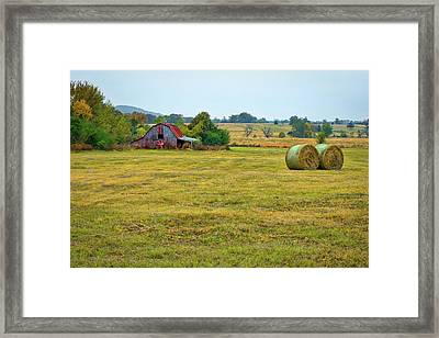 Barn And Field Framed Print