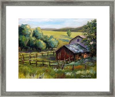 Barn And Field Framed Print