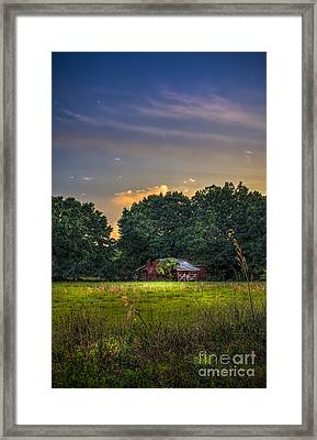 Barn And Palmetto Framed Print by Marvin Spates