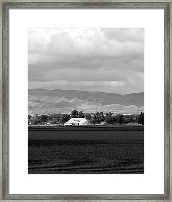 Barn And Plowed Fields Tracy Ca Framed Print by Troy Montemayor