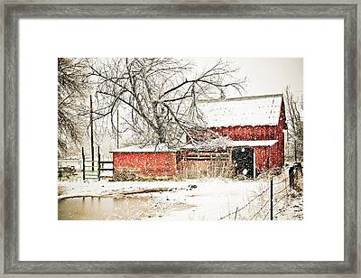 Barn And Pond Framed Print by Marilyn Hunt