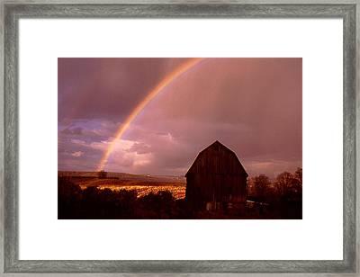 Barn And Rainbow In Autumn Framed Print