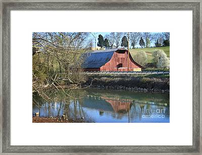 Barn And Reflections Framed Print