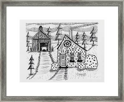 Barn And Sheep Framed Print