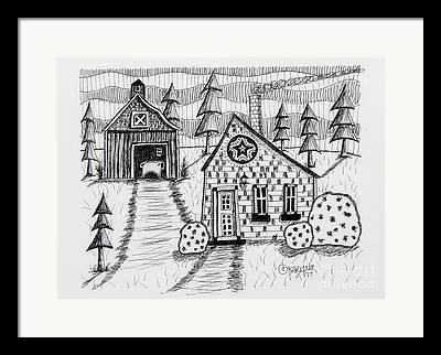 Barn Pen And Ink Drawings Framed Prints