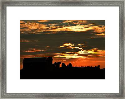Barn And Silo At Sunset Framed Print