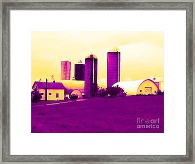 Barn And Silos Amertrine Effect Framed Print