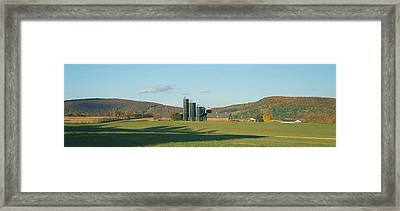Barn And Silos, Dutchess County, New Framed Print by Panoramic Images