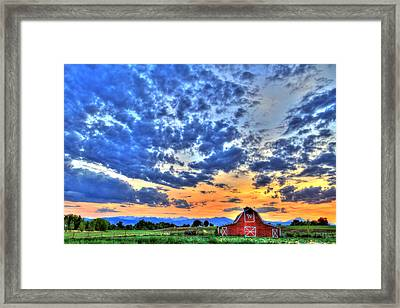 Barn And Sky Framed Print by Scott Mahon