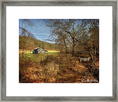 Barn And Stream Framed Print