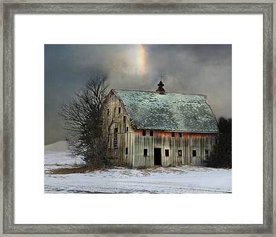 Barn And Sundog Framed Print by Kathy M Krause