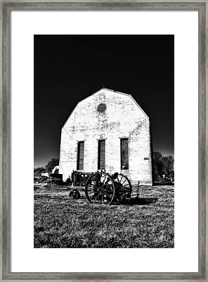 Barn And Tractor In Black And White Framed Print