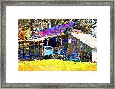 Barn And Truck Framed Print by Danielle Stephenson