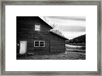 Barn And Wildflowers In Black And White Framed Print by Greg Mimbs