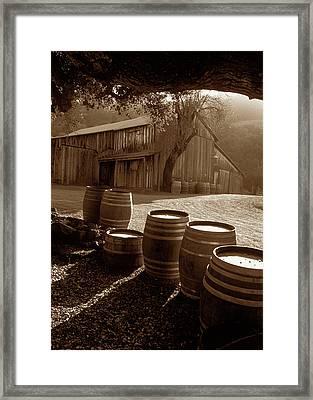 Barn And Wine Barrels 2 Framed Print by Kathy Yates