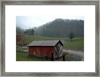 Barn At Stecoah Framed Print by Kathy Schumann