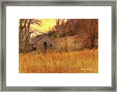Barn At Sunset Framed Print by Charles Wood II