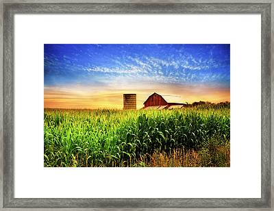 Barn At The Farm At Sunset Framed Print by Debra and Dave Vanderlaan