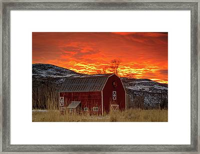 Barn Burner Sunset. Framed Print